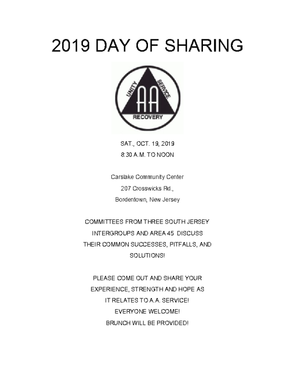 10.19.19 day of sharing flyer