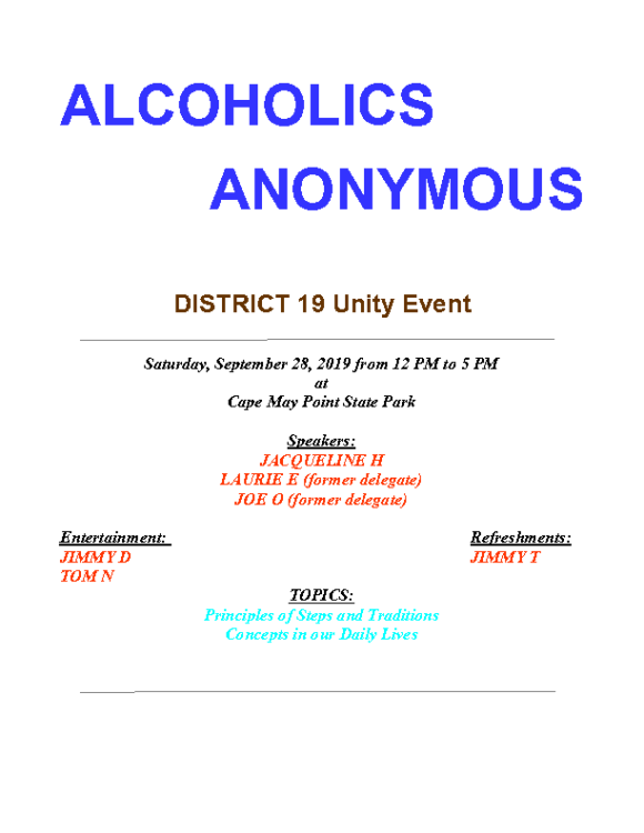09.28.19 Dist 19 Unity event flyer