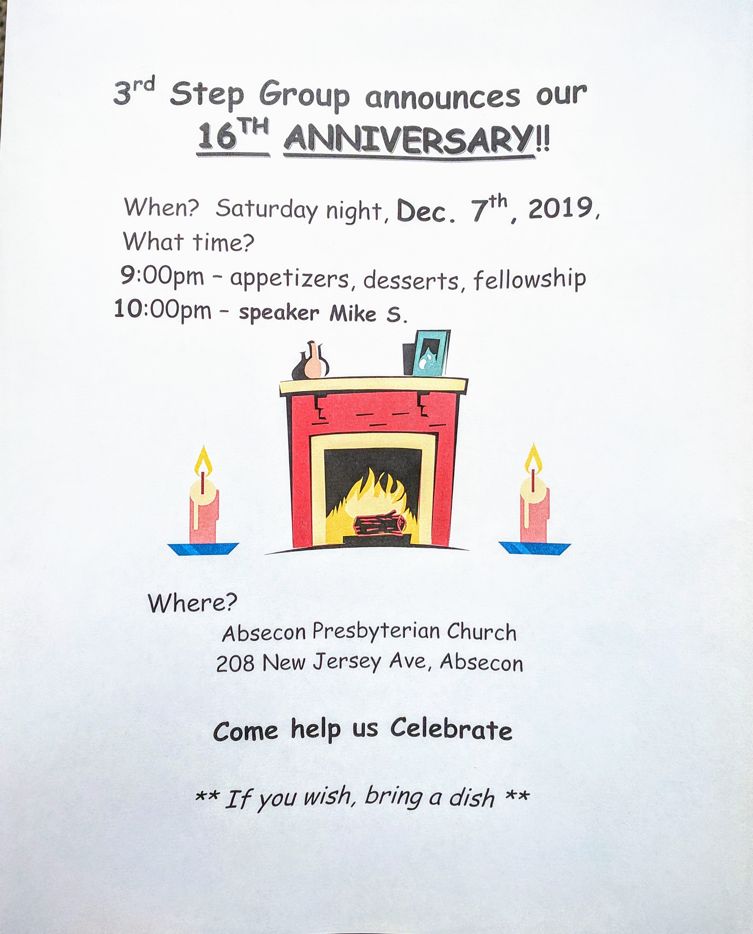 12.07.19 Absecon 3rd Step Group 16th Anniversary