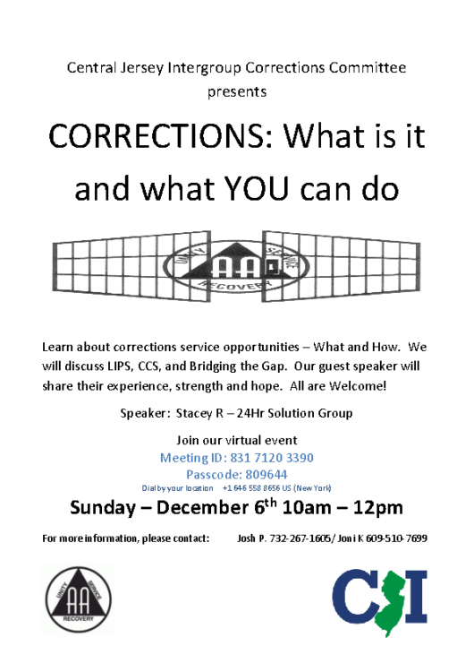 2020.12.06 – CORRECTIONS COMMITTEE OF CENTRAL JERSEY
