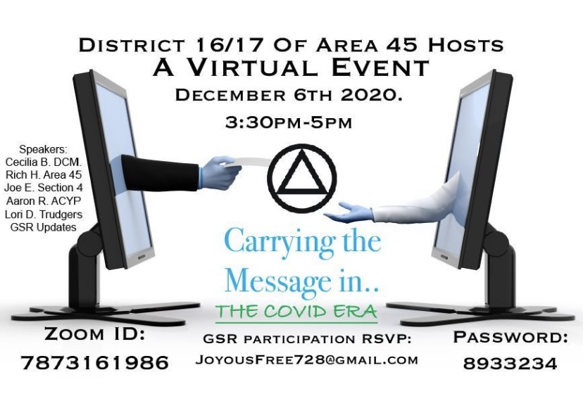 2020.12.6 – District 16/17 of Area 45 – Virtual Event Carrying the Message in the COVID Era