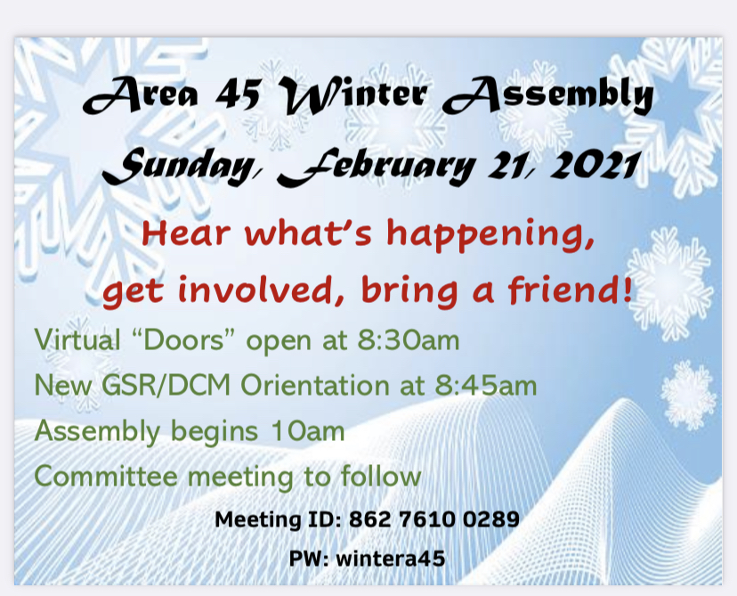 2021.2.21 – AREA 45 WINTER ASSEMBLY